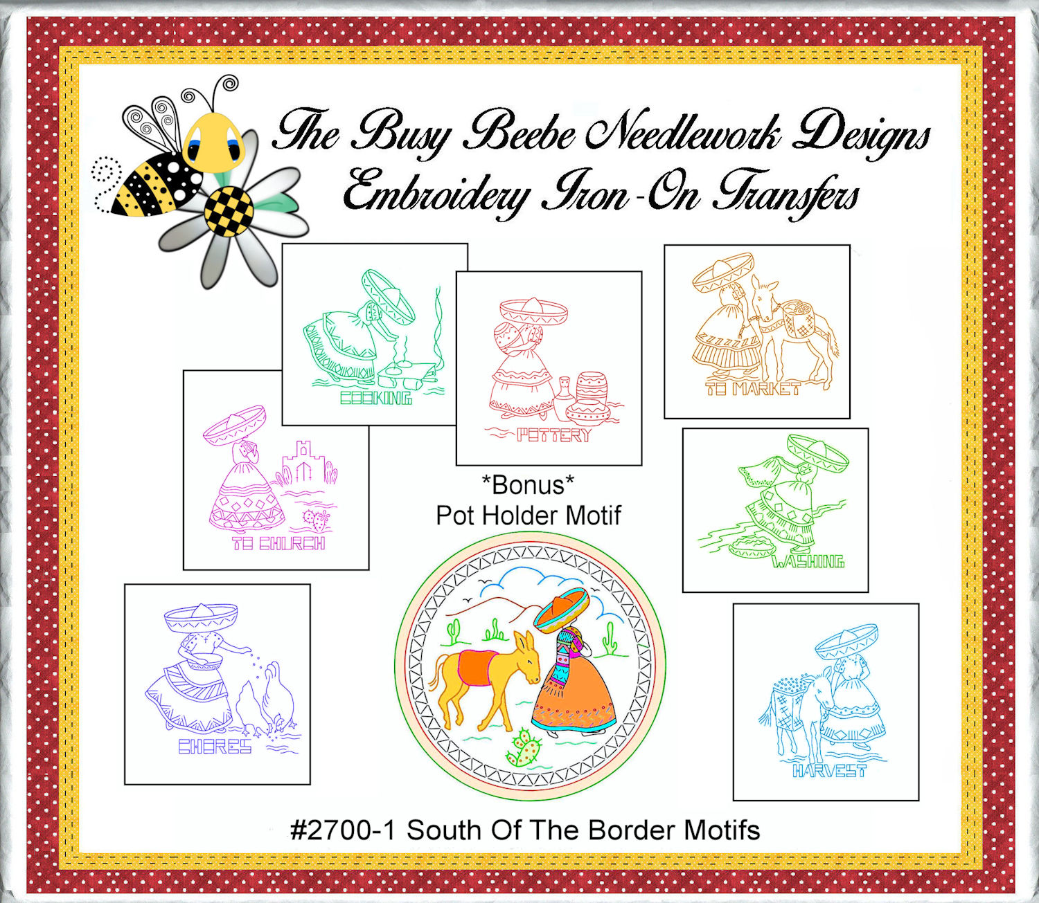 South of the border mexican embroidery motifs iron
