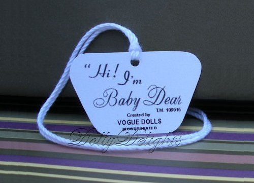 Reproduction 1960 Vogue BABY DEAR doll WRIST hang TAG 2 sided